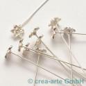 Headpin 0,8mm avec fleur argente 53mm, 10 p.
