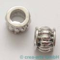 Perle avec grand trou, acier affiné  9x7mm, 2 p.