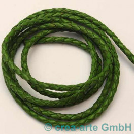 Lederschnur geflochten 3mm grün per Meter_2597
