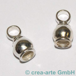 Endkappe 925er Silber massiv, gewölbt  2 St._2659