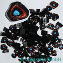 Murrine effetre aqua-verde-nero 50g. ca.6-9mm