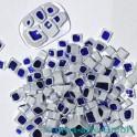 Murrine effetre t dunkelblau-weiss 50g. ca.4-8mm