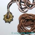 Seidenband Pongee hellbraun, 3 Stück