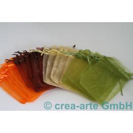 Organzabeutel orange, grün, braun, gold 9x12cm, je_4148