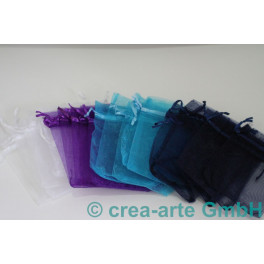 Organzabeutel dunkelblau, violett, türkis, weiss_4149