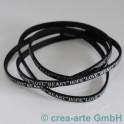 Flachlederband schwarz mit Prägung LOVE 1m