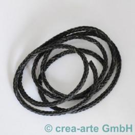 Flechtleder vierkant schwarz-grau 1m_4318
