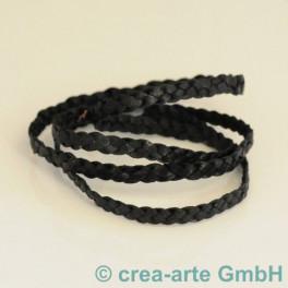Lederband geflochten schwarz 1m_4417