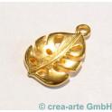 Metallanhänger Blatt, goldfarbig