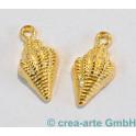 Metallanhänger Muschel, goldfarbig, 2 Stück_5337