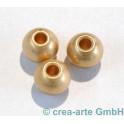 Metallperle, goldfarbig, matt, 6 Stück