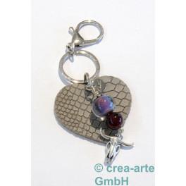 cTalotti Taschenanhänger, Herz grau, Unikatschmuck_5372