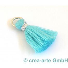 Perlenquaste, aquablau, Ring silberfarbig_5694