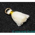 Perlenquaste, beige, Ring goldfarbig