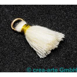 Perlenquaste, beige, Ring goldfarbig_5699