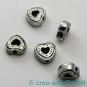 Metallperle Herzchen 12mm 5 Stück