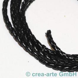 Lederschnur geflochten 3mm schwarz per Meter_805